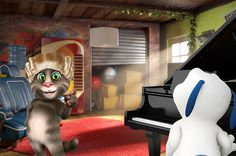 talking angela said she liked artists! but bringing a piano into the room can also be a great workout… for talking hank