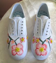 Your place to buy and sell all things handmade Painted Sneakers, Painted Shoes, Cute Shoes, Me Too Shoes, Sharpie Shoes, Shoe Refashion, Pink Dogwood, White Tennis Shoes, Shoe Crafts