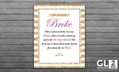 Princess Baby Shower Game. My Water Broke 8x10 Printable Game Sign Pink, Gold & White Frozen Baby Ice Cube Ice Melting Girl Baby Shower Game by GLDesigns2Go