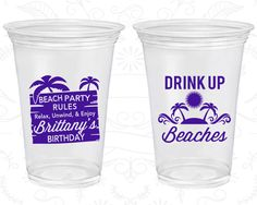 Soft Sided Birthday Cups, Drink up Beaches, Beach Birthday, Relax, Unwind, Enjoy, Disposable Birthday Cups (20206) by MyWeddingStore on Etsy