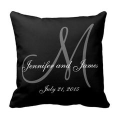 Black White Monogram Names Wedding Keepsake Pillow - Personalized Black White and Grey Monogrammed American MoJo Throw Pillow with bride and groom names and wedding date. Makes a great gift for newly weds. Great for your bedroom, favorite chair, as fun decor in your family room or formal decorative addition to your living room. Customize with your background colour, names, monogram initial and wedding date. Elke Clarke© #monogram #letters #initials #elegant #chic #monogrammed #wedding #names…