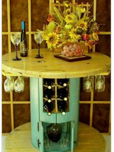 Wine table from electric wood spool