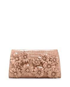 Nancy Gonzalez Slicer Flower-Applique Crocodile Clutch Bag, Nude Matte