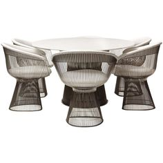 1stdibs.com | Rare Oval Dining Table and Chairs By Warren Platner