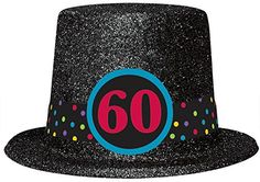 Let everyone know you're 60 and happy about it with this glitter hat. Black and stylish this hat is a great way to let the birthday guy relax and celebrate. A large 60 medallion is paired with a polka