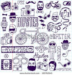 Hipsters doodles set. School notebook. Vector illustration. - stock vector