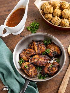 Seasoned Chicken with Rich Gravy - deliciously tender chicken thighs with seasoning and herbs paired with a delicious rich gravy.#glutenfree #dairyfree #chicken #gravy #slimmingworld #weightwatchers #smartpoints