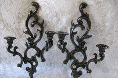 Black Wall Sconce Pair, Distressed in Gold, Set of Vintage Candle holder Sconces, Syroco, Ornate, Hollywood Regency, Paris Apartment Decor. $38.00, via Etsy.