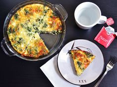 Spinach, Mushroom & Feta Crustless Quiche by budgetbytes: A savory and healthy breakfast or brunch which reheats well in the microwave for a quick dinner. Breakfast Desayunos, Breakfast Recipes, Dinner Recipes, Breakfast Spinach, Breakfast Dishes, Drink Recipes, Breakfast Ideas, Quiches, Vegetarian Recipes