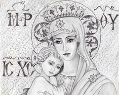 Orthodox Icons, Mother Mary, Virgin Mary, Christian Faith, Holy Spirit, Gods Love, Ikon, Madonna, Outline