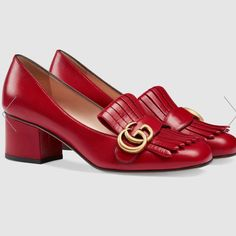 Shop the Leather mid-heel pump by Gucci. The leather mid-heel pump with Double G hardware detail on fold over fringe. Mocassin Gucci, Gucci Loafers, Gucci Shoes, Women's Pumps, Pump Shoes, Shoe Boots, Shoe Bag, Heels, High Heel Pumps
