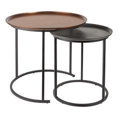 Set de 2 mesas auxiliares de metal Kerala
