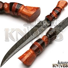 Custom Damascus Steel Smith Made Hunting Knife, Wooden Handle by Knives Exporter #KnivesExporter