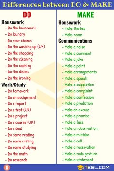 DO vs MAKE: Difference between DO and MAKE in English Do and Make are two verbs which frequently confuse students of English. Learn the difference between DO vs MAKE in English with examples and pictures. English Grammar Rules, Teaching English Grammar, English Writing Skills, English Verbs, English Vocabulary Words, Learn English Words, English Phrases, English Language Learning, English Study