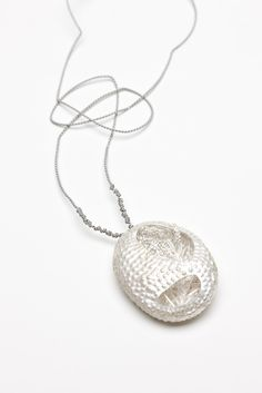Naoko Inuzuka, Tree Egg, copper, sterling silver, silk cord