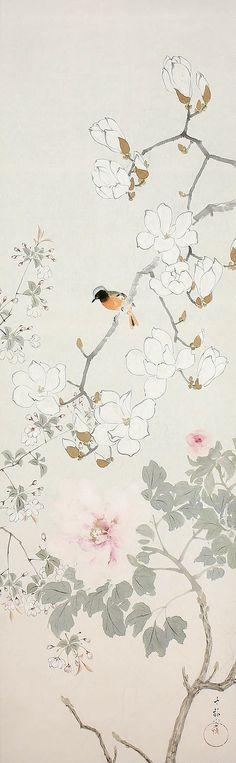 Araki Jippo 荒木十畝 (1872 - 1944), Warbler in a Rosebush.