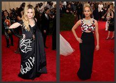 Inspiração Madrinhas e Padrinhos de Casamento | Met Gala 2015 - Madonna de Moschino e Jennifer Lawrence de Dior Haute Couture