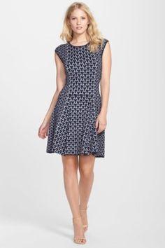 34218c9b2f6 Jacquard Knit Fit   Flare Sweater Dress Laundry By Shelli Segal