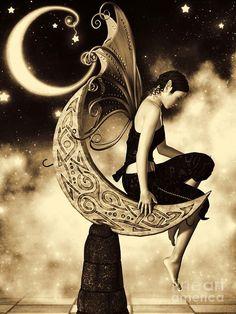 Moon Fairy Sepia Digital Art by Alexander Butler