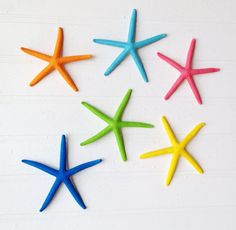 Colorful ornament tropical set of 6 starfish nautical beach island turquoise aqua lime yellow orange pink preppy Lilly pulitzer stocking
