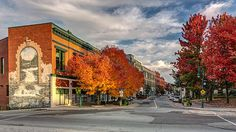 Wellington street downtown Sherbrooke city in fall Travel Around The World, Around The Worlds, Top 10 Restaurants, Canada, North America, Autumn, Fall, Street View, Explore