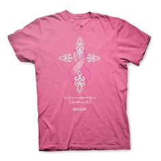 Glitter Cross Breast Cancer Awareness Christian T-Shirt