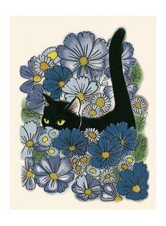 Cat art print - Black Cat art - A Walk in the Garden - X print - 4 for 3 sale - Art - Cat illustration – Cat print – A Walk in the Garden X = print on heavy weight - Frida Art, Cat Art Print, Cat Tattoo, Cat Love, Cats And Kittens, Cats 101, Cats Meowing, Bengal Cats, Siamese Cat