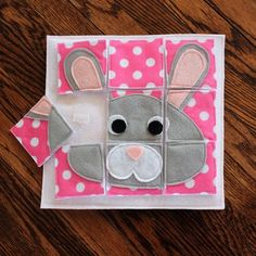 Bunny Puzzle Custom Hand-Crafted Quiet Book Page A Single