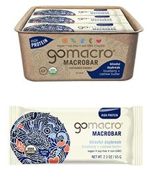 GoMacro Macrobar Organic Vegan Protein Bar, Blueberry/Cashew Butter, 2.3 Ounce Protein Bars, High Protein, Vegan Protein, Cashew Butter, Blueberry, Organic, Products, Quest Protein Bars, Berry
