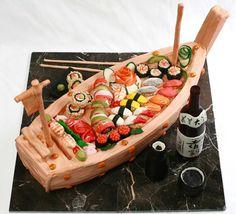 Sushi BOOT Sushi Schiff aus Bambusholz SUSHI BOAT 33 cm
