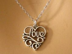 Heart Love Necklace Romantic Sterling Silver by martywhitedesigns