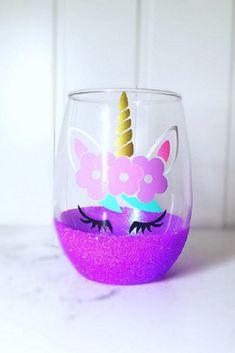 Cute Unicorn Glitter Wine Glass.