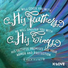 K-LOVE's Encouraging Word. He will cover you with his feathers. He will shelter you with his wings. His faithful promises are your armor and protection. Psalm 91:4 NLT