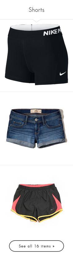 """""""Shorts"""" by paigebrad ❤ liked on Polyvore featuring shorts, compression shorts, short compression shorts, nike shorts, nike, medium wash, frayed denim shorts, short hot pants, denim shorts and low rise shorts"""