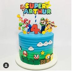 Mario Birthday Cake, 2nd Birthday Boys, Super Mario Birthday, Birthday Themes For Boys, Super Mario Party, Bolo Do Mario, Bolo Super Mario, Mario Bros., Mario Bros Y Luigi
