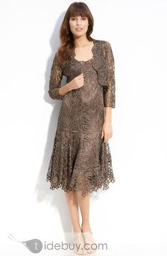 Gorgous Scoop Knee Length A Line Lace Mother Of The Bride Dress