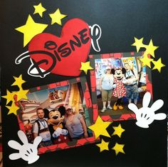 Disney scrapbook layout, stars and heart