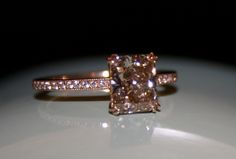 rose gold with a pink champagne radiant cut diamond <3