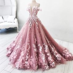 rosa Charming Prom Dress Off The Shoulder Prom Dresses 2018 Flora Appliques A Line Evening Gowns Formal Party Vestidos from flordabridal Prom Dresses 2018, Ball Gowns Prom, Dress Prom, Party Dress, Wedding Dress Pink, Pink Ball Gowns, Pageant Gowns, Debut Dresses, Prom Party