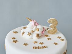 Cute Unicorn & Cloud Fondant Cake Topper, Stars and Clouds, Gold Glitter, Name Block Letters, Age Number, 3D Edible Unicorn, Personalized Name Blocks, Fondant Cake Toppers, Unicorn Cake Topper, Sugar Paste, Cute Unicorn, Block Lettering, Baby Shower Cakes, Wonderful Things, It's Your Birthday