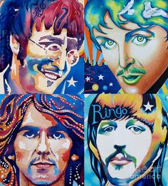 Beatles Heads Psychedelic Wings Star Spiritual Portraits George Paul George Ringo Painting - Fab Four by Debbie Diamond Foto Beatles, Beatles Art, Beatles Photos, Beatles Poster, The Beatles Help, Good Day Sunshine, Pochette Album, T Art, The Fab Four