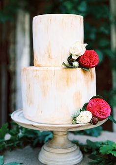 brush painted cake with red garden roses