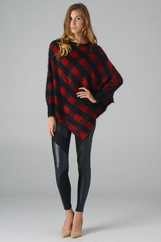 Checkers Long Sleeve Poncho (Black+Red)