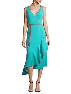 Diane von Furstenberg Asymmetrical Ruffle Hem Dress