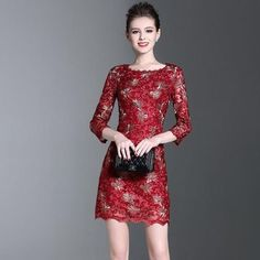 3c929e14f54 New Fashion High-end high-quality Lace Embroidery Dress Slim Mini Dress. Embroidery  DressWomens ...