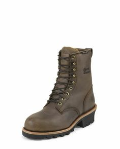 """Women's 8"""" Bay Apache Waterproof Insulated Steel Toe Logger Lace Up Boot - L26341"""