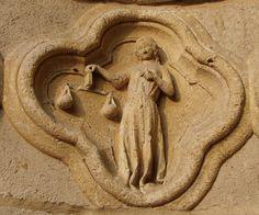 Zodiac signs at the portal of Amiens Cathedral - Libra