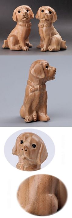 Other Wood and Project Materials 183160: Pair Peach Wood Puppy Dog Hand Carved Home Art Gift Ornament Woodwork Craft -> BUY IT NOW ONLY: $33.5 on eBay!