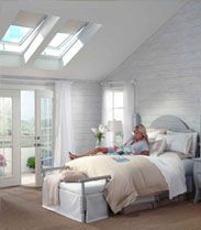 VELUX skylights are an energy-efficient way to bring sunlight into a home and make dark rooms come to life. Bringing natural light into a home through a skylight decreases the need for electricity while Skylight Bedroom, Skylight Blinds, Skylight Window, Window Glass, Glass Door, White Bedroom Furniture, Home Bedroom, Bedroom Decor, Bedroom Retreat