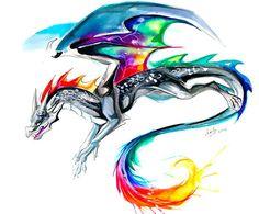 Colorful aquarelle dragon. Atypical dragon design.